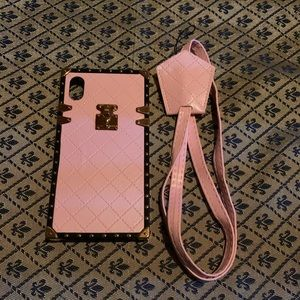 Pink IPhone XR Square Case with Strap
